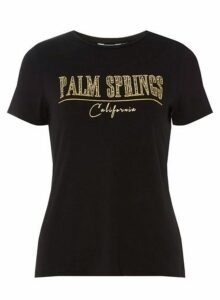 Womens Petite Black 'Palm Springs' T-Shirt- Black, Black