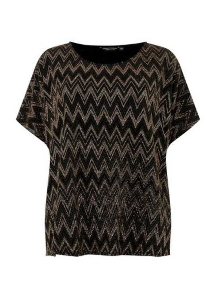 Womens **Dp Curve Chevron Sparkle Soft T-Shirt- Brown, Brown