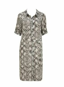 Grey Snake Print Shirt Dress, Grey