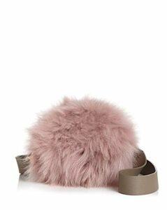 Aaron Small Leather & Fur Circle Shoulder Bag