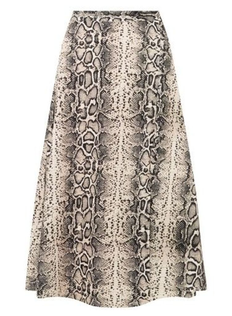 Womens Brown Snake Print Midi Skirt- Fl Multi, Fl Multi