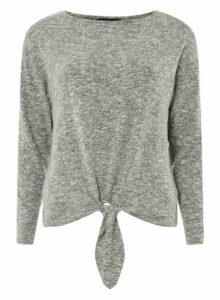 Womens Grey Tie Front Top- Grey, Grey