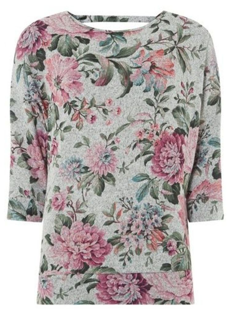 Womens **Billie & Blossom Grey Batwing Sleeve Floral Print Top- Grey, Grey