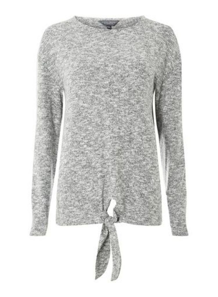 Womens **Tall Grey Brush Tie Front Jumper- Grey, Grey