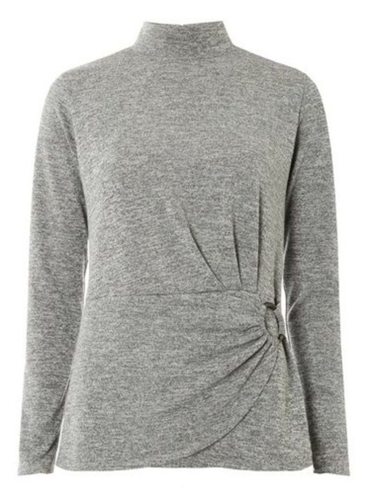 Womens Grey Buckle Wrap Front Top- Grey, Grey
