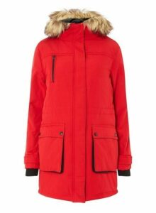 Womens Red Padded Faux Fur Hood Parka Coat- Red, Red