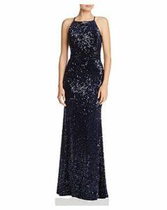 Aqua Sequined Velvet Gown - 100% Exclusive