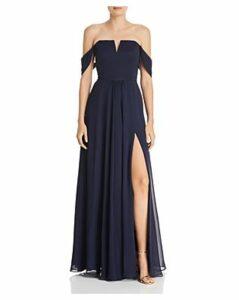 Aqua Off-the-Shoulder Chiffon Gown - 100% Exclusive
