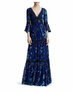 Marchesa Notte Floral-Pattern Burnout Velvet Gown