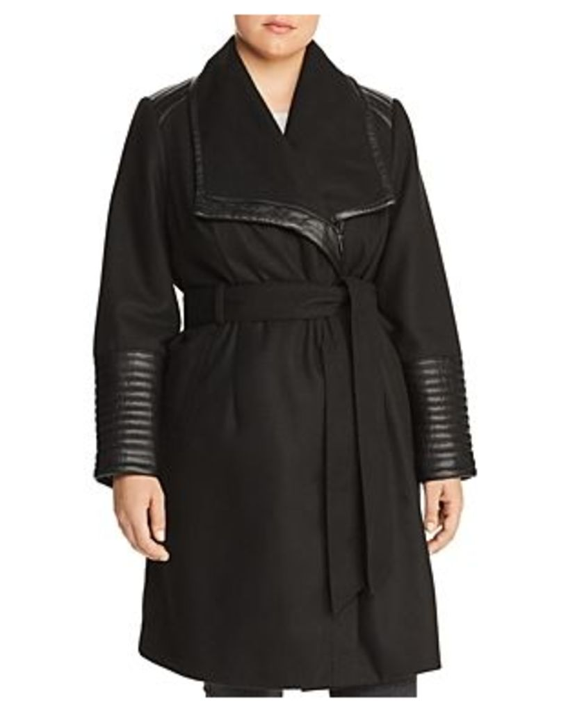 Bagatelle Plus Faux Leather Trim Belted Coat