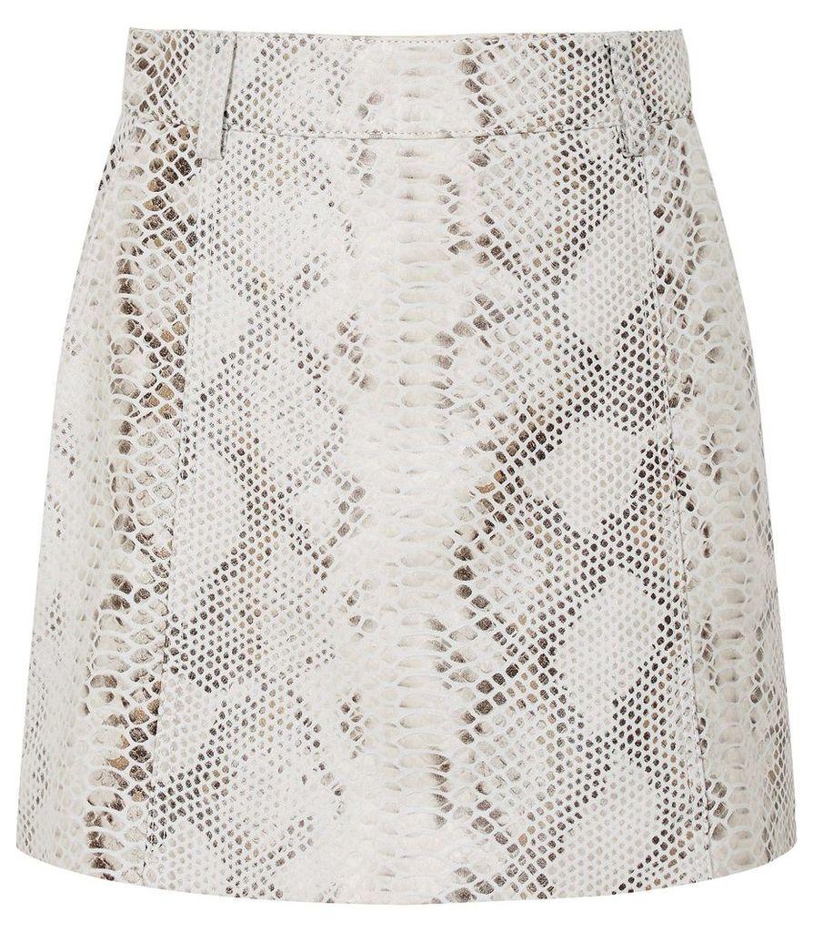 Reiss Kora - Snake Print Leather Skirt in Neutral, Womens, Size 14