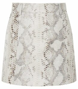 Reiss Kora - Snake Print Leather Skirt in Neutral, Womens, Size 14