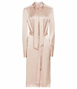 Reiss Ray - Satin Long Line Shirt Dress in Neutral, Womens, Size 16