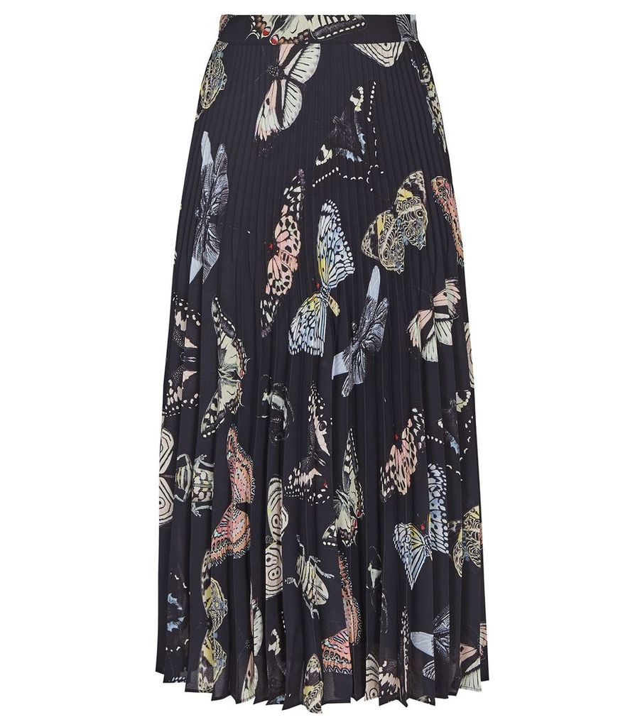 Reiss Sarah - Butterfly Printed Midi Skirt in Multi, Womens, Size 16