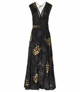Reiss Kaira - Floral Burnout Maxi Dress in Multi, Womens, Size 16