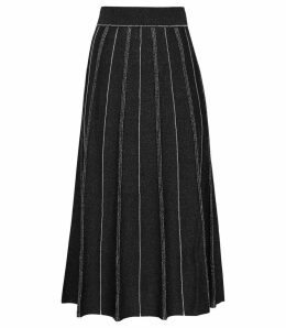 Reiss Arden - Knitted Midi Skirt in Black Metallic, Womens, Size XXL