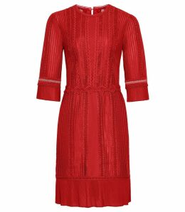 Reiss Freya - Lace Detail Dress in Red, Womens, Size 16