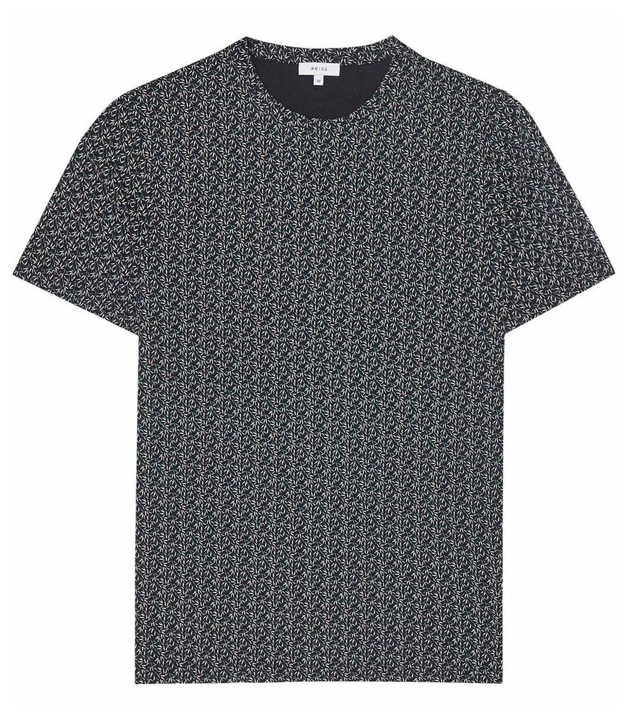 Reiss Tyne - Leaf Printed T-shirt in Navy, Mens, Size XXL