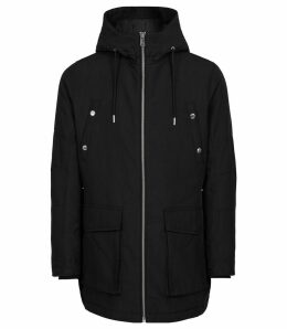 Reiss Toronto - Hooded Parka in Black, Mens, Size XXL
