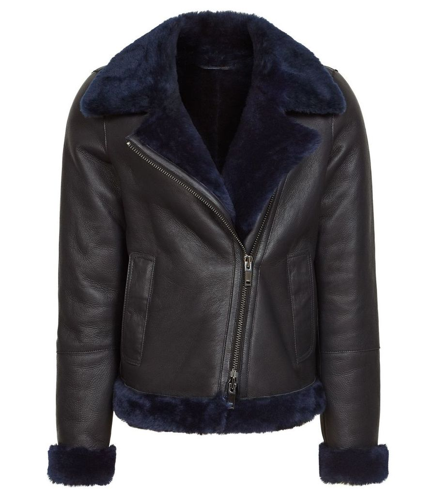 Reiss Daisy - Short Shearling Aviator Jacket in Navy, Womens, Size XL