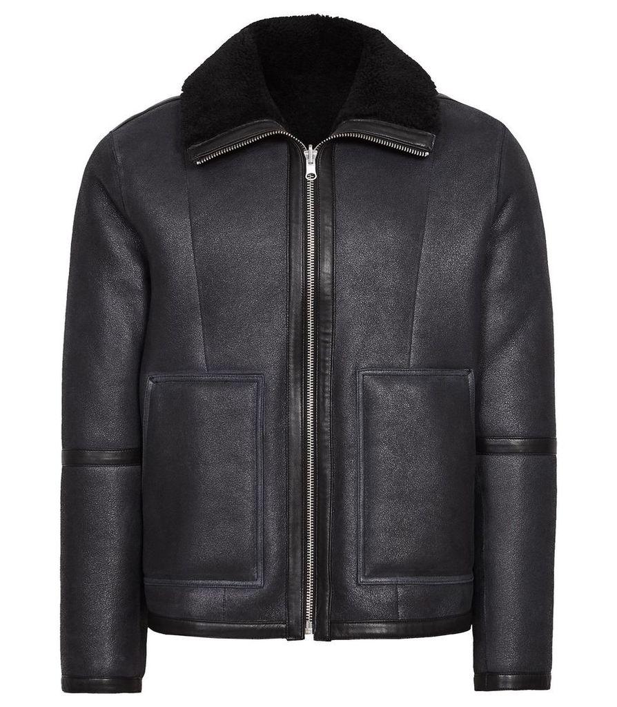 Reiss Warrenford - Reversible Shearling Jacket in Navy, Mens, Size XXL