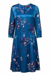 Silky floral-print dress with three-quarter sleeves
