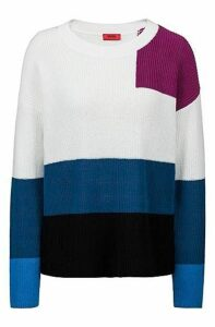 Oversized-fit sweater in knitted colour-block cotton