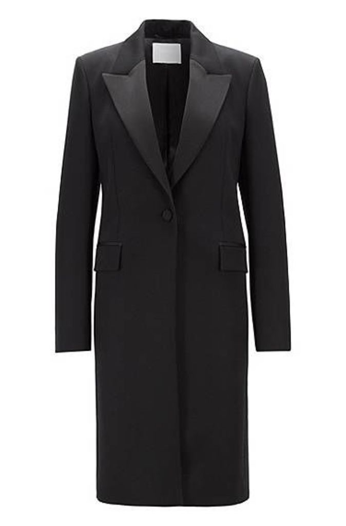 Tuxedo-style coat in Italian virgin wool