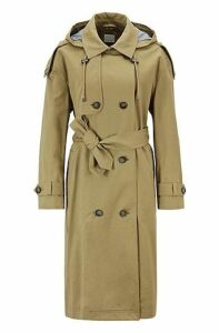 Relaxed-fit trench coat in cotton with detachable hood