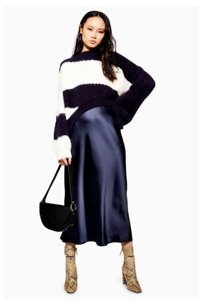 Womens Satin Bias Midi Skirt - Navy Blue, Navy Blue