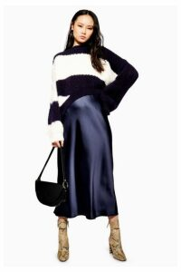 Womens Satin Bias Midi Skirt - Navy Blue, Navy Blue