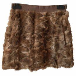 Beige Fur Skirt