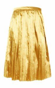 Tall Chartreuse Satin Pleated Midi Skirt, Yellow
