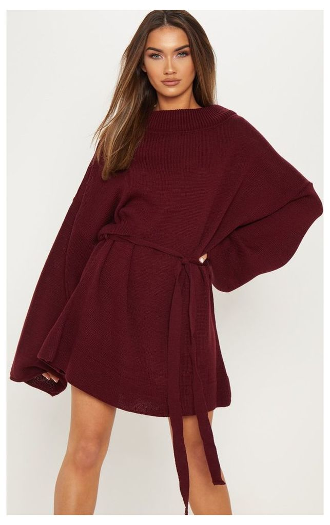 Burgundy Oversized Knitted Belted Dress, Red