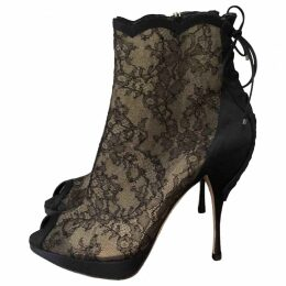 Cloth open toe boots