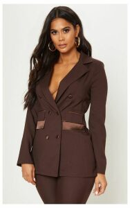 Chocolate Triple Breasted Oversized Blazer, Chocolate Brown
