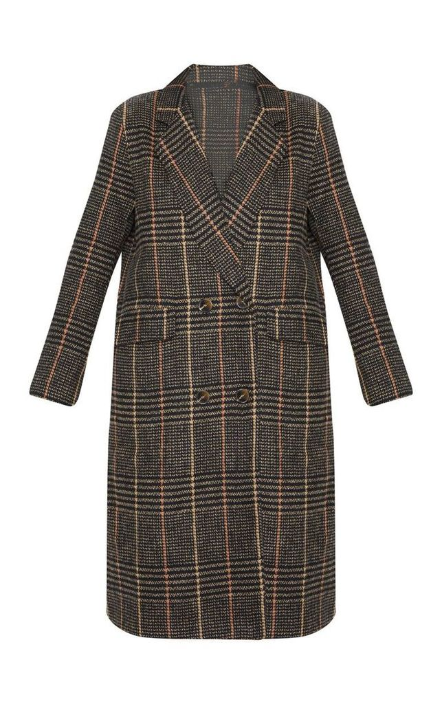 Brown Oversized Check Coat, Brown