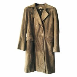 DKNY leather trench coat jacket