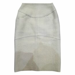 100% Authentic Chanel Cream Wool Pencil Skirt