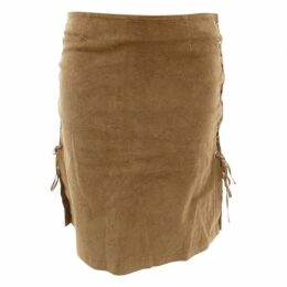 BEIGE SIDE LACED-UP SKIRT