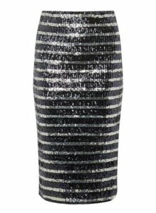 Womens Navy And Silver Sequin Striped Pencil Skirt- Blue, Blue