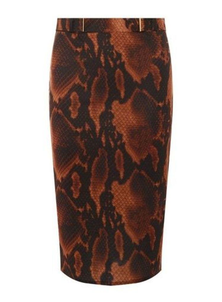 Womens Brown Snake Belted Pencil Skirt- Brown, Brown