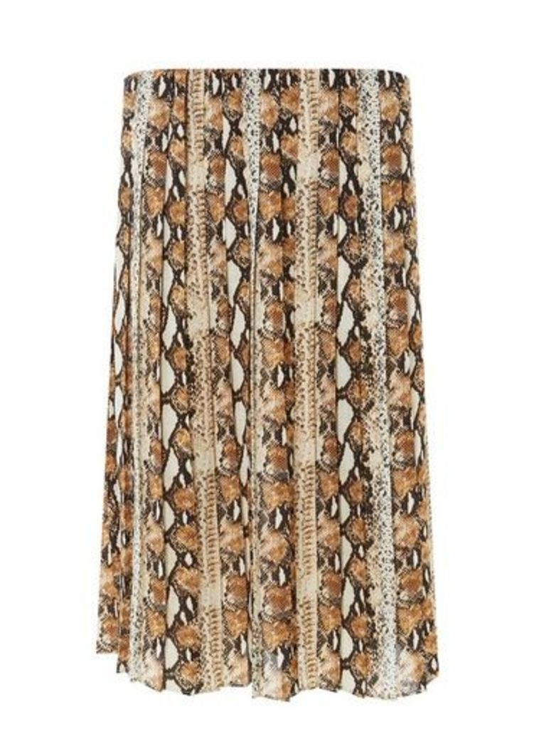 Womens Multicoloured Snake Print Pleated Skirt- Multi, Multi