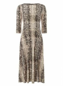 Womens Cream Snake Print Split Midi Dress- Cream, Cream