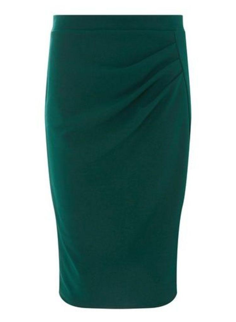 Womens **Green Ruched Pencil Skirt- Green, Green