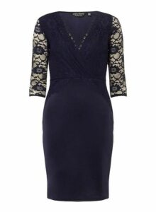 Womens **Navy Lace Top Bodycon Dress- Navy, Navy