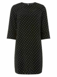 Womens **Black Spotted Trim Shift Dress- Black, Black