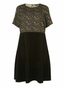 Womens **Dp Curve Multi Coloured Leopard Print 2-In-1 Dress- Black, Black