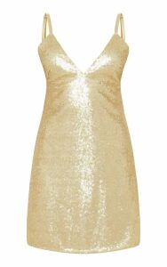 Petite Champagne Strappy Sequin Shift Dress, Yellow