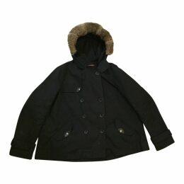 Navy 100% Cotton Coat with Fur Hood